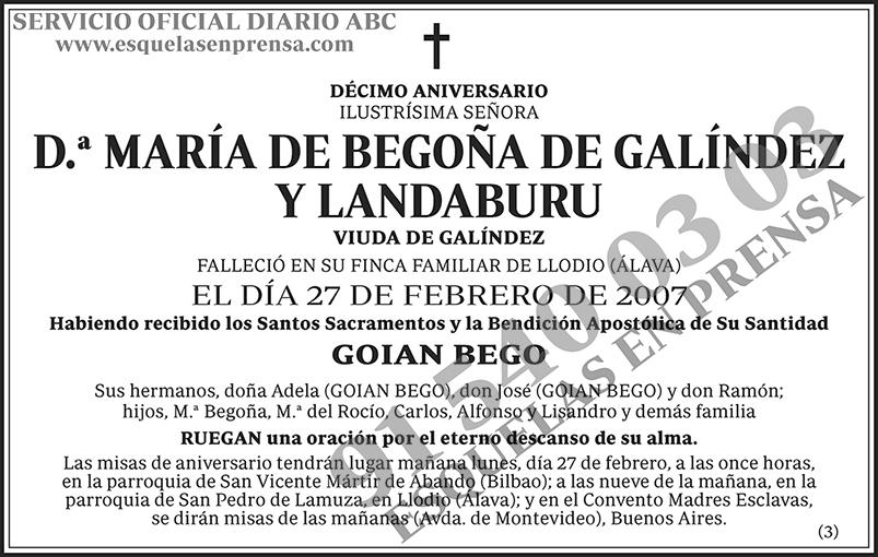 María de Begoña de Galíndez y Landaburu